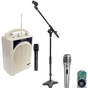 Pyle Speaker, Mic, Cable and Stand Package - PWMA100 Rechargeable Portable PA System with Wireless MIC - PDMIK1 Professional Moving Coil Dynamic Handheld Microphone - PMKS7 Compact Base Microphone Stand - PPFMXLR15 15ft. XLR Male to XLR Female Microphone Cable