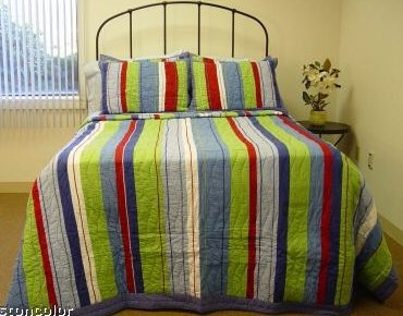 7 Piece Bobby Blue Stripe Queen Size Quilt Set