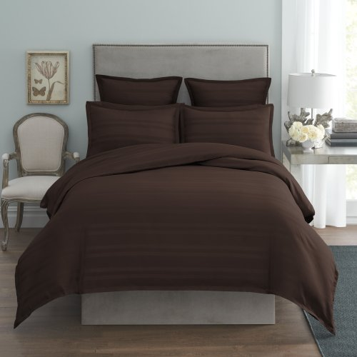 Modern Living 1C92099 Arezzo Stripe Duvet Cover, Full/Queen, Chocolate front-643373