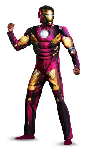Disguise Marvel's Avengers Movie Iron Man Muscle Adult Costume, Red, X-Large/(42-46)