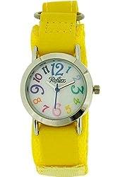 Reflex Kids White Dial Colourful Digits Yellow Velcro Fabric Strap Watch KID-007