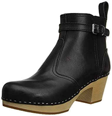 swedish hasbeens Women's 865 Ankle Boot,Black / Black,6 M US