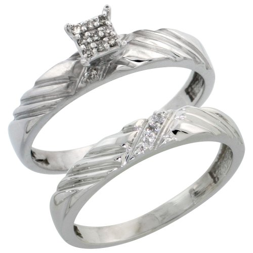 Sterling Silver Diamond Engagement Ring Set 2-Piece 0.08 cttw Brilliant Cut, 1/8 inch 3.5mm wide, Size 7.5
