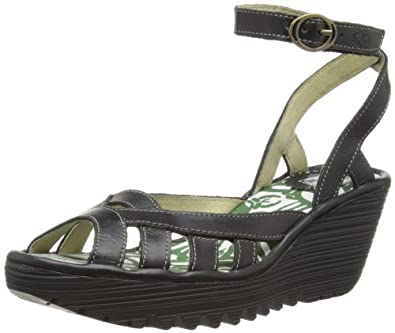 Fly London Yuma, Women's Fashion Sandals, Black, 6 UK