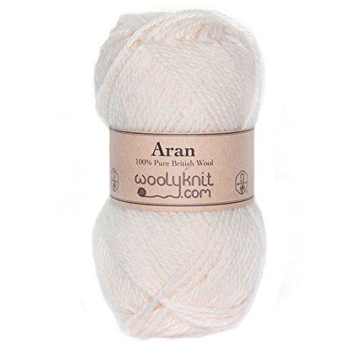 Woolyknit Aran | 100% British Worsted Hand Knitting Wool Yarn 50g Balls (Cream) (British Yarn compare prices)