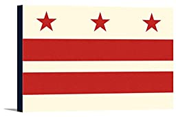 Washington DC Flag - Letterpress (36x24 Gallery Wrapped Stretched Canvas)