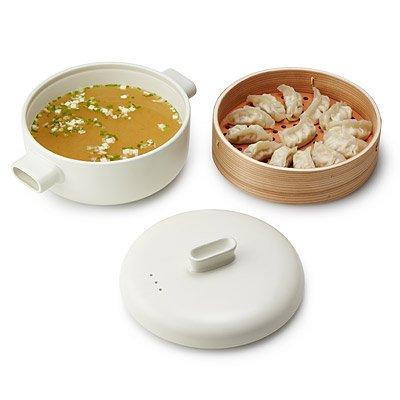 JIA Inc. Steamer Set - Large Set (Ceramic Steamer Pot and Lid + Cedar Wood Basket) (Ceramic Food Steamer compare prices)