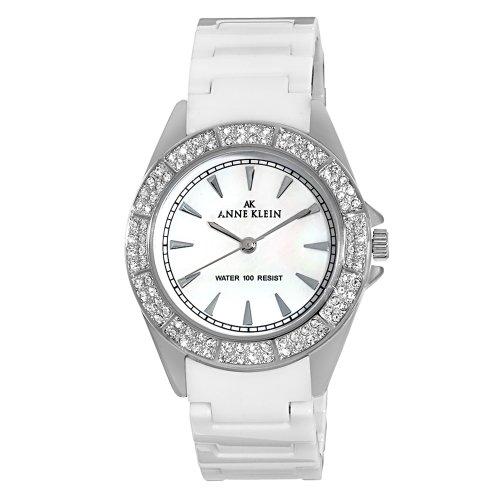 AK Anne Klein Women's 109683MPWT Swarovski Crystal Silver-Tone and White Ceramic Bracelet Watch