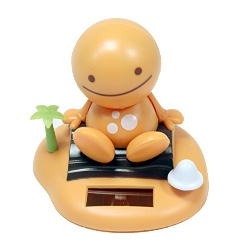 Adorable ~ Smiling Happy Face ~ Orange Yellow Sunny Doll on a Beach Island ~ Solar Toy Perfect Home Car Decor