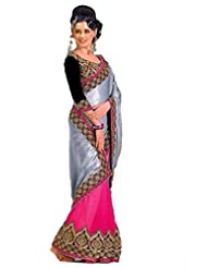 AG Lifestyle Grey & Pink Georgette Saree With Unstitched Blouse ASL804
