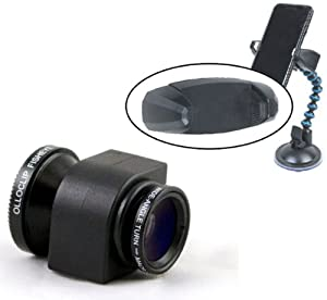 Olloclip Fisheye, Macro, Wide Angle Lens Kit For the Apple iPhone 5 (Black) with a 1/4x20 Standard Tripod Thread