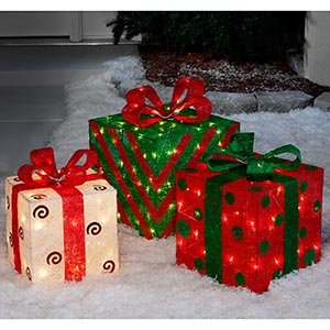 Set of 3 large pre lit christmas gift boxes yard for Amazon christmas lawn decorations