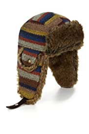 Faux Fur Striped Trapper Hat [T72-1715L-S]