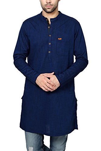 Peter England Men's Cotton Kurta (8907411582380_PO31681310_92_Navy)