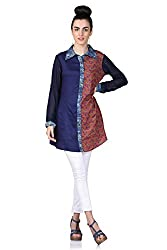 Cute Sparrow Women's Rayon Kurti CS-51 Blue & Red (Small)