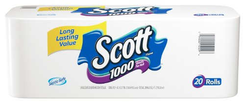 Scott 1000 Bath Tissue, 1000 Sheet Rolls (20 Rolls)