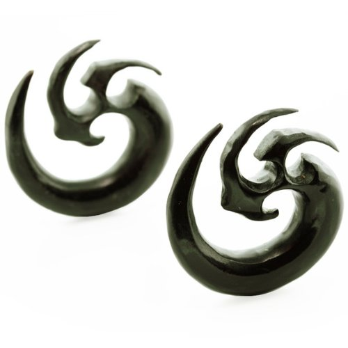 Pair 2 Gauge (6mm) Predator Blade Horn Spiral Plugs Organic Body Jewelry