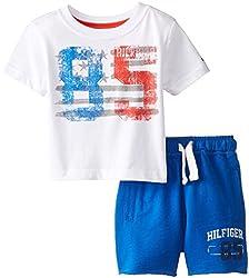 Tommy Hilfiger Baby-Boys Newborn 85 Flag Tee Set, White, 6 Months