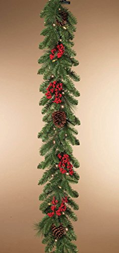 Indoor or Outdoor Battery Operated 6 Foot Pre-lit LED Mixed Pine Garland with Cones and Berries