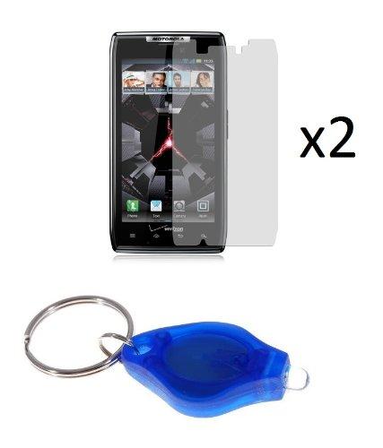 Motorola Droid Razr (Verizon) - Premium Combo Pack - 2 Transparent Clear Screen Protectors + Atom Led Keychain Light