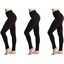 Damen Leggings (3 Pack) FM® Damen Sport oder Casual, Thermische schwarze Legging