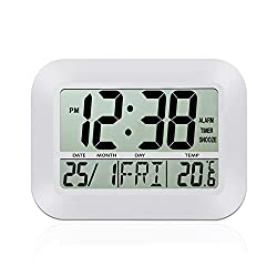 HeQiao 12 Inch Large LCD Alarm Clock Slim Digital Calendar Day Clock Wall Clock Silent Desk Shelf Clocks Battery Operated for Home Office-Ivory White(Temperature Display, Snooze & Timer Function)