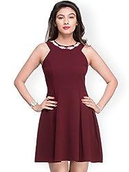 Amor Women's Polyester Dress(Amor_05_l_RedLarge)