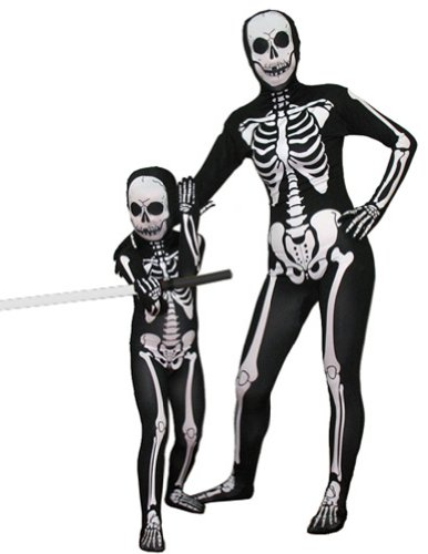 SecondSkin Full Body Spandex/Lycra Suit (Kids L, Skeleton)