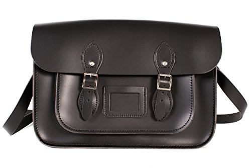"14"" Black English Magnetic Snap Leather Satchel - Classic Retro Fashion Bag"