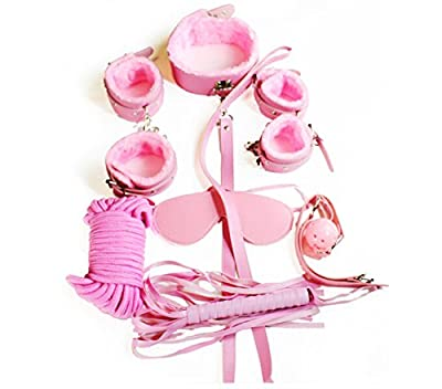 Pink Colour Quality Pu Leather Fetish Fantasy Bondage Set Rope Ball Gag Cuff Whip Collar Blindfold Adult Sex Sexy Toy