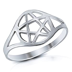 925 Sterling Silver Wicca Pentacle Ring - Size 6