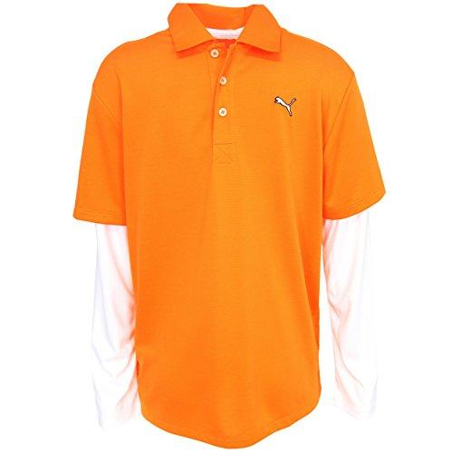 Puma Golf Boy'S Long Sleeve Polo Tee, Vibrant Orange, Medium front-1030804
