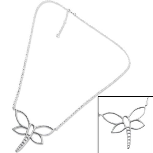Genuine Sterling Silver Discreet Necklace (1mm wide) with Dragonfly Pendant (2.2cm) Extendable Chain Length: 41cm to 46cm (16