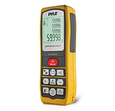Pyle PLDM22 Handheld Laser Distance Meter with Backlit LCD Display and Direct/Indirect Volume/Area Measuring by Pyle