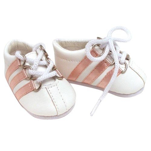 White Leather Doll Sneakers fits 18 Inch American Girl Dolls - Pink Striped Doll Sport Sneakers - 1