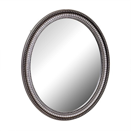 """Zenith Products Pmv2532Bb Oval Mirror 25"""" X 32"""" Medicine Cabinet, Antique Pewter front-330656"""