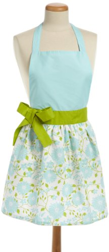 DII 100% Cotton, Trendy Skirt Blue Daisy Kitchen Apron With Adjustable Neck & Waist Ties, Cute Chef Apron Is Machine Washable And Can Be Used For Embroidery, Perfect for Cooking, Baking, Crafting & More - Aqua