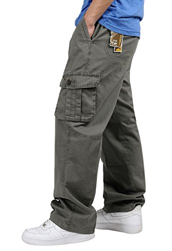 ChicNChic Men's Multi Pockets Relaxed Lightweight Workwear Chef Cargo Pants Dark Grey M (Chef Pants With Side Pocket compare prices)