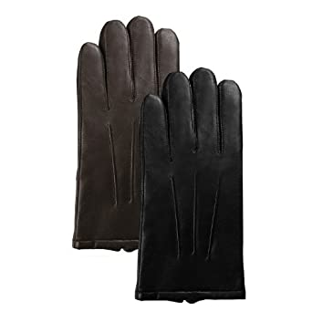 Luxury Lane Men's Thinsulate Lined Lambskin Leather Dress Gloves - Brown Medium