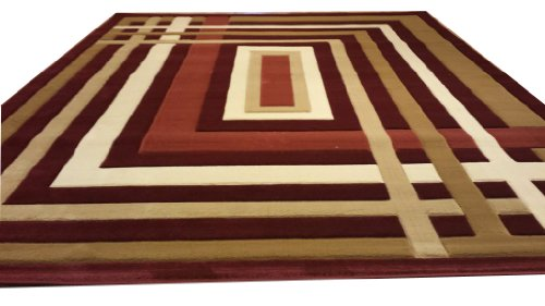 J704 Contemporary Modern Jagged Maze Pattern Burgundy Red Brown Hand Carved 5x8 Actual Size 5'3x7'2 Rug