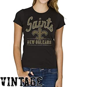 NFL Ladies New Orleans Saints Kick Off Crew T-shirt Black By Junk Food by Junk Food
