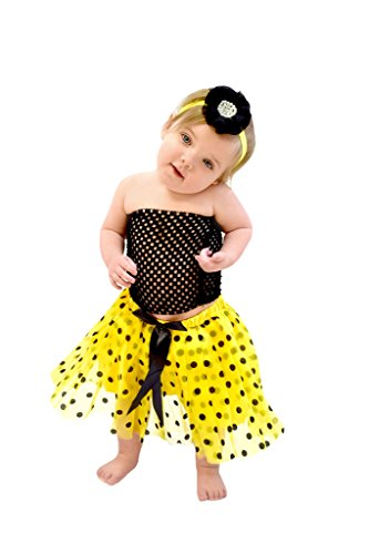 Wholesale Princess Black and Yellow Polka Dot Tutu Set