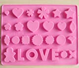 Fashion Base 3pcs LOVE Mixed Pattern Silicone Chocolate Mould Homemade Pastry Cookie Sheet Baking Mat