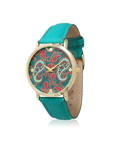 Olivia Pratt Women's 13359 Teal/Paisley Multicolor Leather Watch