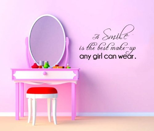 """Marilyn Monroe Quote Wall Decor """"A Smile Is The Best Make-Up Any Girl Can Wear"""" Girl'S Bedroom Wall Art Decor Saying Vinyl Lettering Motto For Girls Wall Sign (Black) front-423947"""
