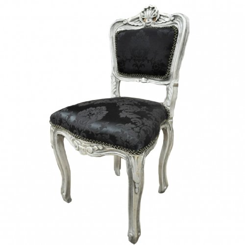 Antique Finish Silver Frame Black Damask Fabric Louis Bedroom Chair