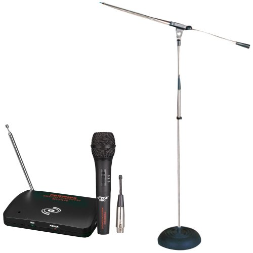 Pyle Mic And Stand Package - Pdwm100 Dual Function Wireless/Wired Microphone System - Pmks9 Heavy Duty Compact Base Boom Microphone Stand