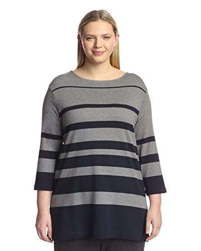 Joan Vass Plus Women's Fade Stripe Tunic