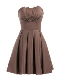 Landybridal A-line Knee Length Satin Bridesmaid Dress E22464 L Brown