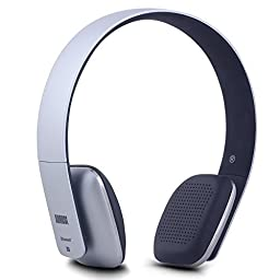 August EP636 Bluetooth Wireless Stereo NFC Headphones - Comfortable On-ear Headset with built-in Microphone and Rechargeable Battery - Compatible with Mobile Phones, iPhone, iPad, Laptops, Tablets, Smartphones (Silver)